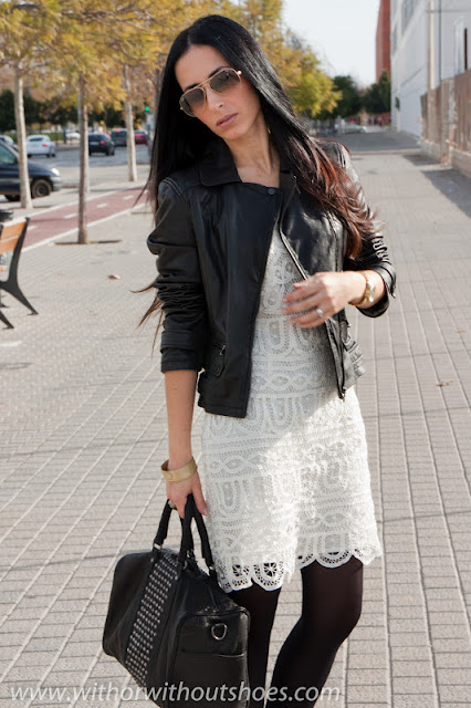 White Lace Dress And Biker Jacket With Or Without Shoes