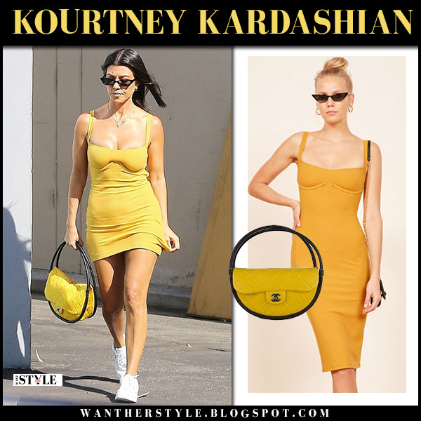 d2ac3cf7762c Kourtney Kardashian in yellow mini dress reformation and white nike  sneakers summer street style july 30