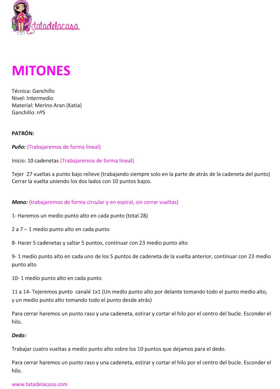 Tatadelacasa: Mitones de ganchillo (Patrón)