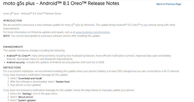 Moto G5s Plus Android 8.1 Oreo Release Imminent | Release Notes Live