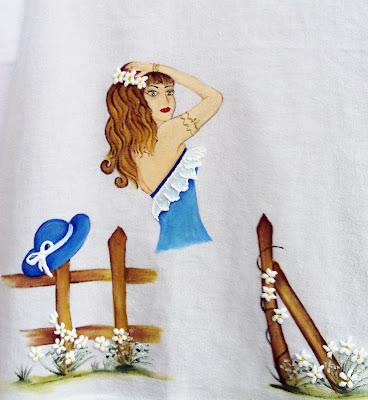 pano de copa com boneca pintada