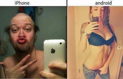 Lustige verarsche Foto Smartphone vor Spiegel