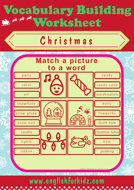 ESL picture to word matching, Christmas topic