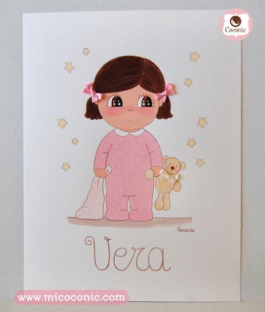 cuadro infantil lamina niña pijama