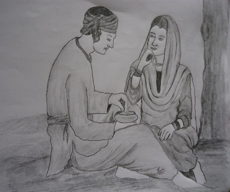 Pencil sketches painting pencil drawiings of desi girl