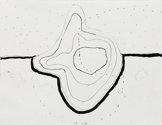 drawing Jürgen Partenheimer Hoffnungsloser Sand, #45, 2018