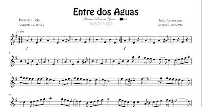Entre dos Aguas de Paco de Lucía Partitura y Tablatura de Guitarra Tabs