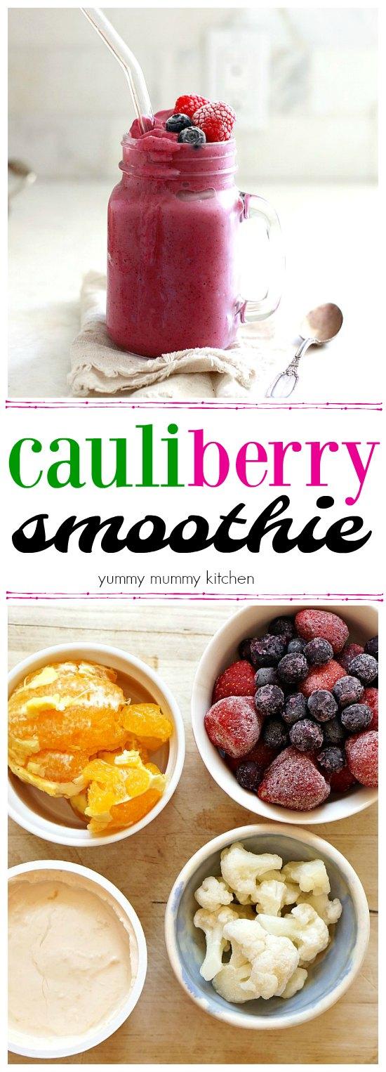 A delicious cauliflower smoothie with orange, frozen berries, vegan yogurt, and frozen cauliflower. What a great way to get kids to eat more veggies!