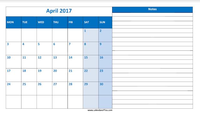 April 2017 Calendar, April 2017 Calendar Printable, April 2017 Calendar Template, April 2017 Calendar PDF, April 2017 Printable Calendar, April 2017 Blank Calendar