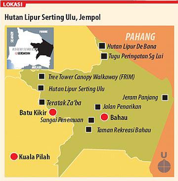 Gambar peta lokasi menarik di sekitar Bahau di Negeri Sembilan