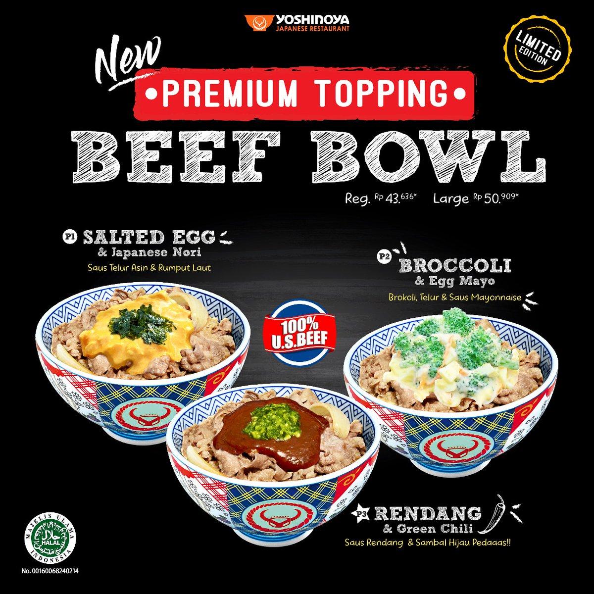 Yoshinoya - Promo Beef Bowl New Premium Topping Harga Mulai 43 Ribuan