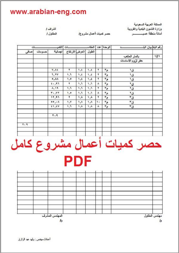 حصر كميات أعمال مشروع كامل PDF |المهندس العربي