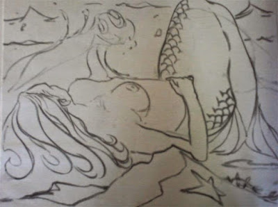 Mermaid Drawing Art Class Charcoal