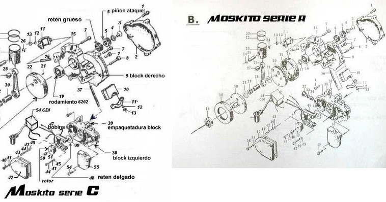 Motorized bicycles tutorials: 50cc motorized bicycle engine Exploded view