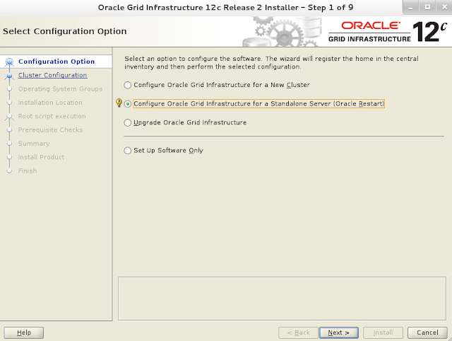 Oracle 12c grid infrastructure installation wizard screen 1