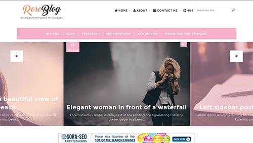 Free Rose Blog Blogger Template download