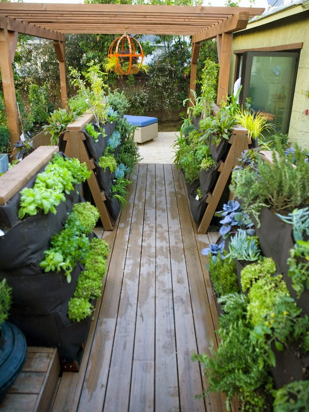 Gardening in backyard patio on House Backyard Deck id=96871