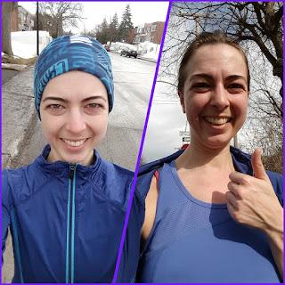 Coureuse souriante, dehors, printemps, Montréal, montage photos