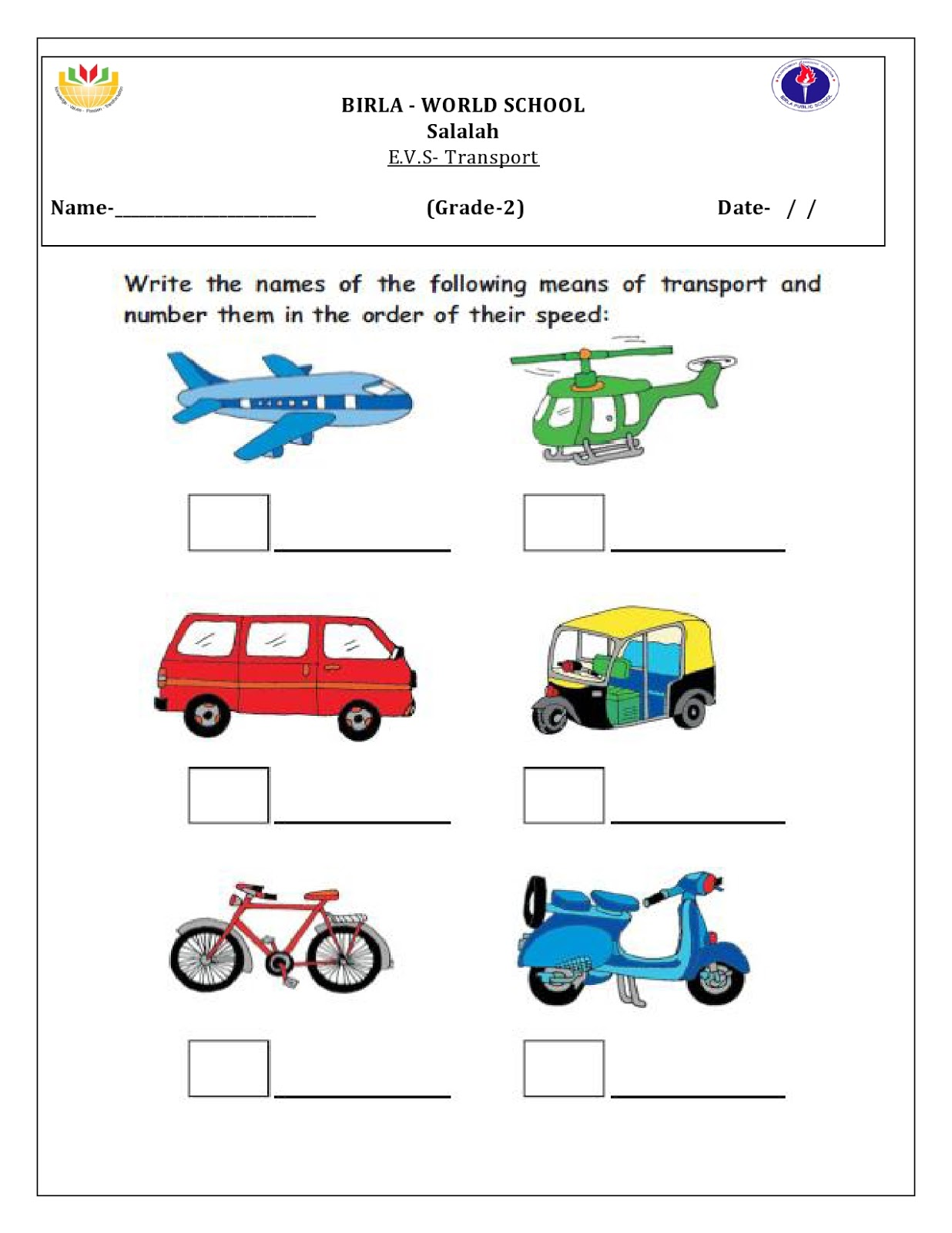 Birla World School Oman Homework For Grade 2 B 25 3 16