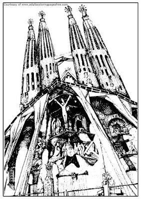 sagrada familia barcelona adults architectures coloring pages