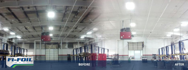 Before and After of RetroShield application in metal building.