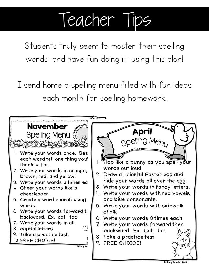 fun spelling homework