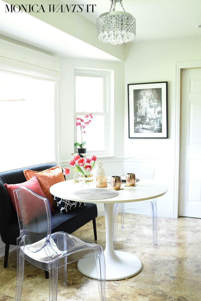 Tips for selecting the perfect bench/seating for a small breakfast nook/eat-in kitchen via monicawantsit.com