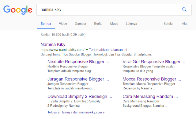 Apa itu Google Sitelinks