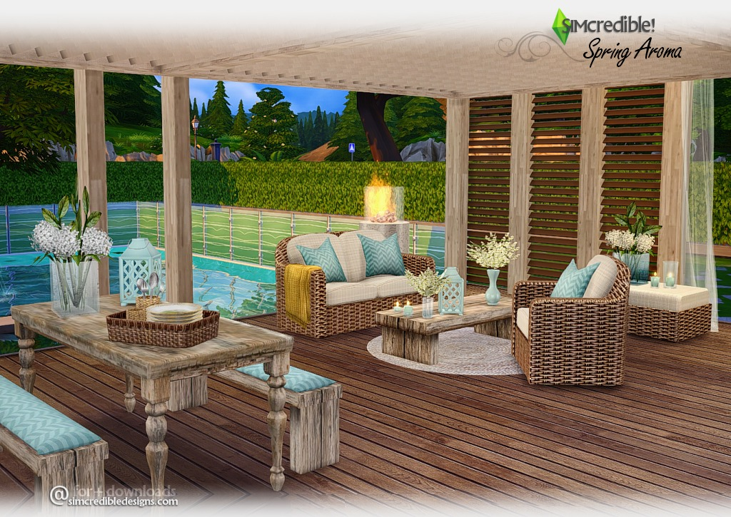 My sims 4 blog spring aroma outdoor set by simcredible for Sims 4 exterior design