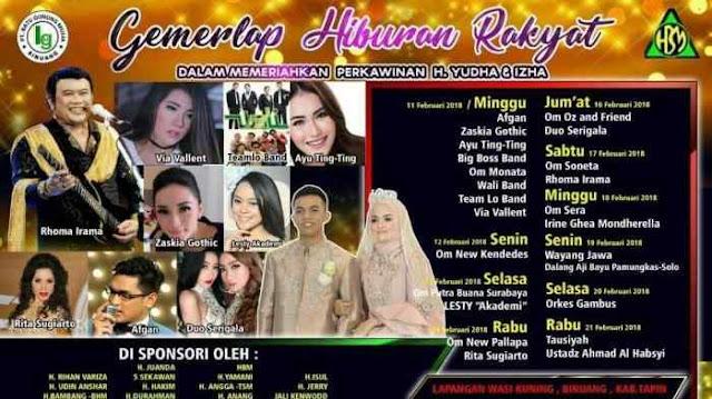 Pernikahan H M Prayudha dan Hj Nur Zakiroh putera pengusaha Binuang yang tersohor H Muhammad Hatta (H Ciut) - Hj Warsiah sedang berlangsung hari ini, Minggu (11/2/2018). Tidak tanggung-tanggung pesta pernikahan pengusaha Tapin Kalimantan Selatan ini digelar selama 10 hari 10 malam.