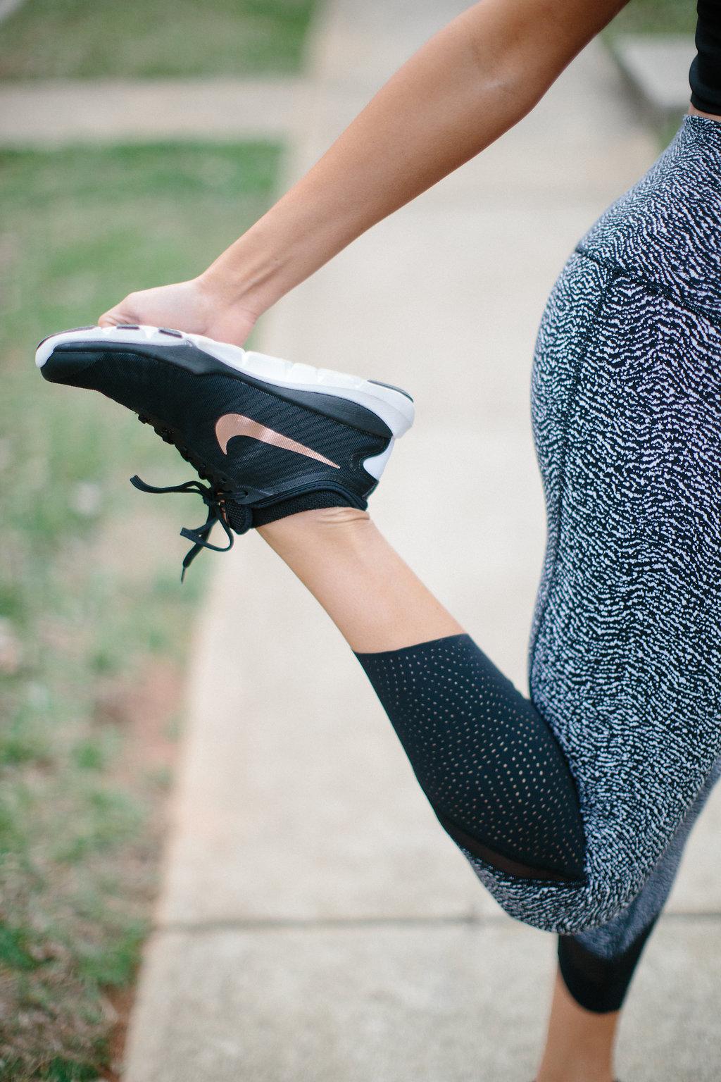 3a51dbf551557 Nike Women s Flex Supreme TR 4 Cross Trainer Shoes in Rose Gold     Lululemon Double Tap Bra II    Lululemon Short Stop Tank    Lululemon  Simply Bare Bra ...