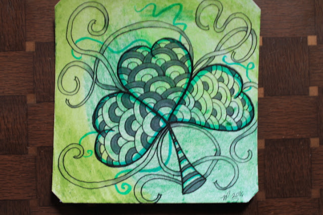 Shamrock Zentangle on watercolor
