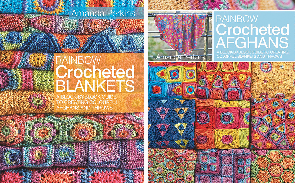 There are two versions of the book, Rainbow Crocheted Blankets written in  UK terms and Rainbow Crocheted Afghans written in US terms.