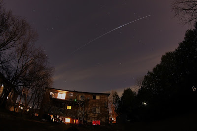 ISS flyover over with some hot pixels removed
