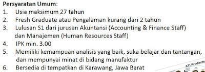 Lowongan kerja terbaru PT AT Indonesia Joint Venture 2017