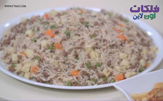 طريقة عمل  ارز باللحمة  المفرومة والخضار