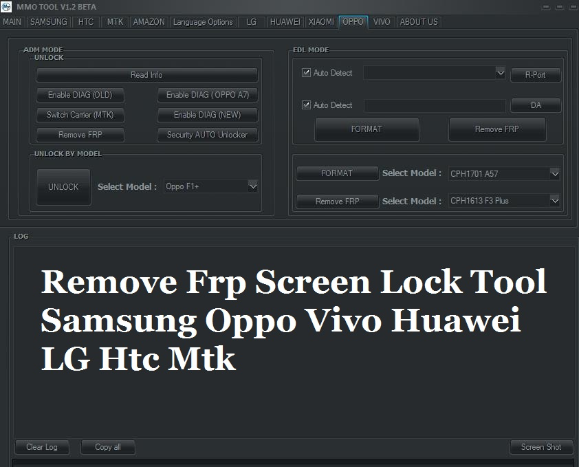Samsung LG Huawei Oppo Vivo Htc Remove Frp Screen Lock Tool
