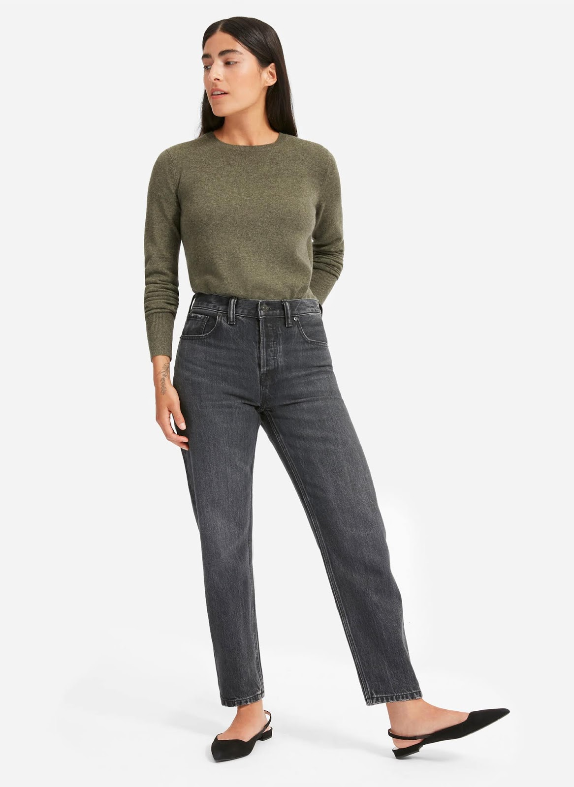 Fall Outfit Inspiration — Green Cashmere Sweater, Black Straight-Leg Jeans, Black Flats