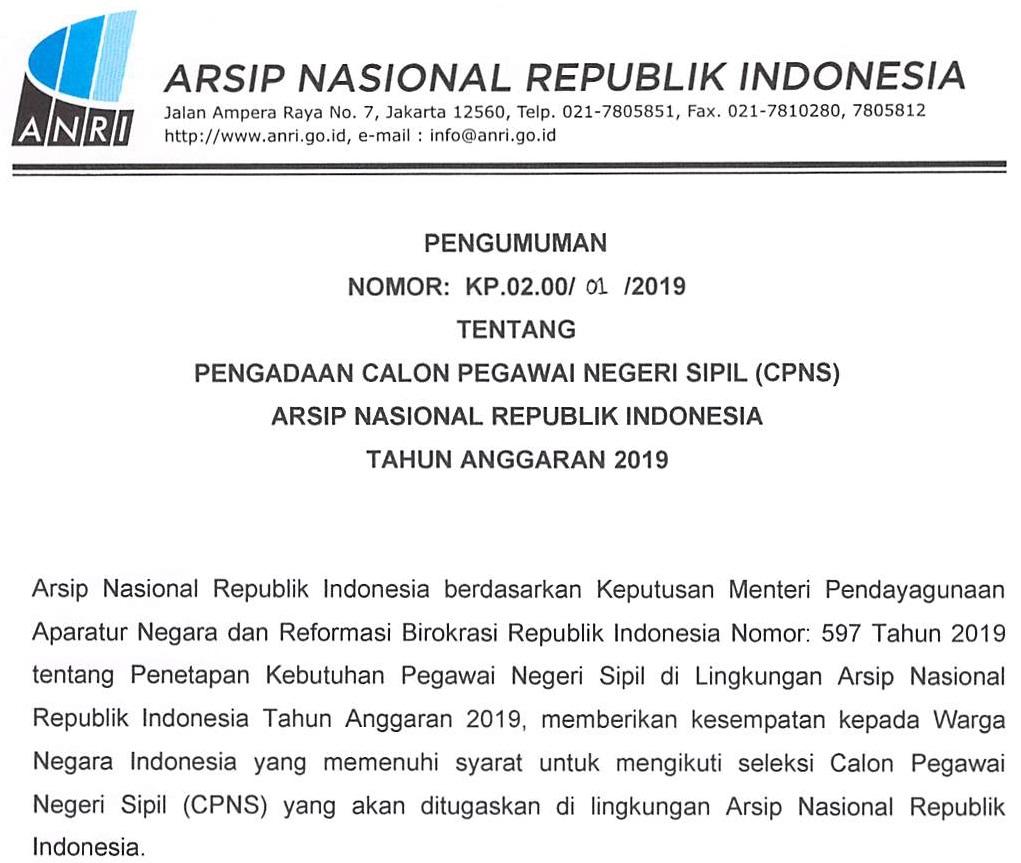 Download Formasi CPNS Lingkungan Arsip Nasional Republik Indonesia (ANRI) Tahun 2019