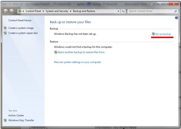 gambar setting windows backup