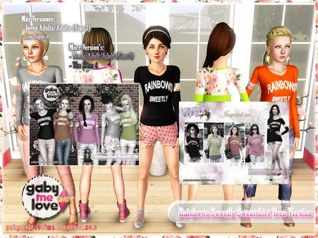Rainbows Sweetly Sweatshirt Teen Version ~ Asian Fashion, Sims 3. Otras Versiones
