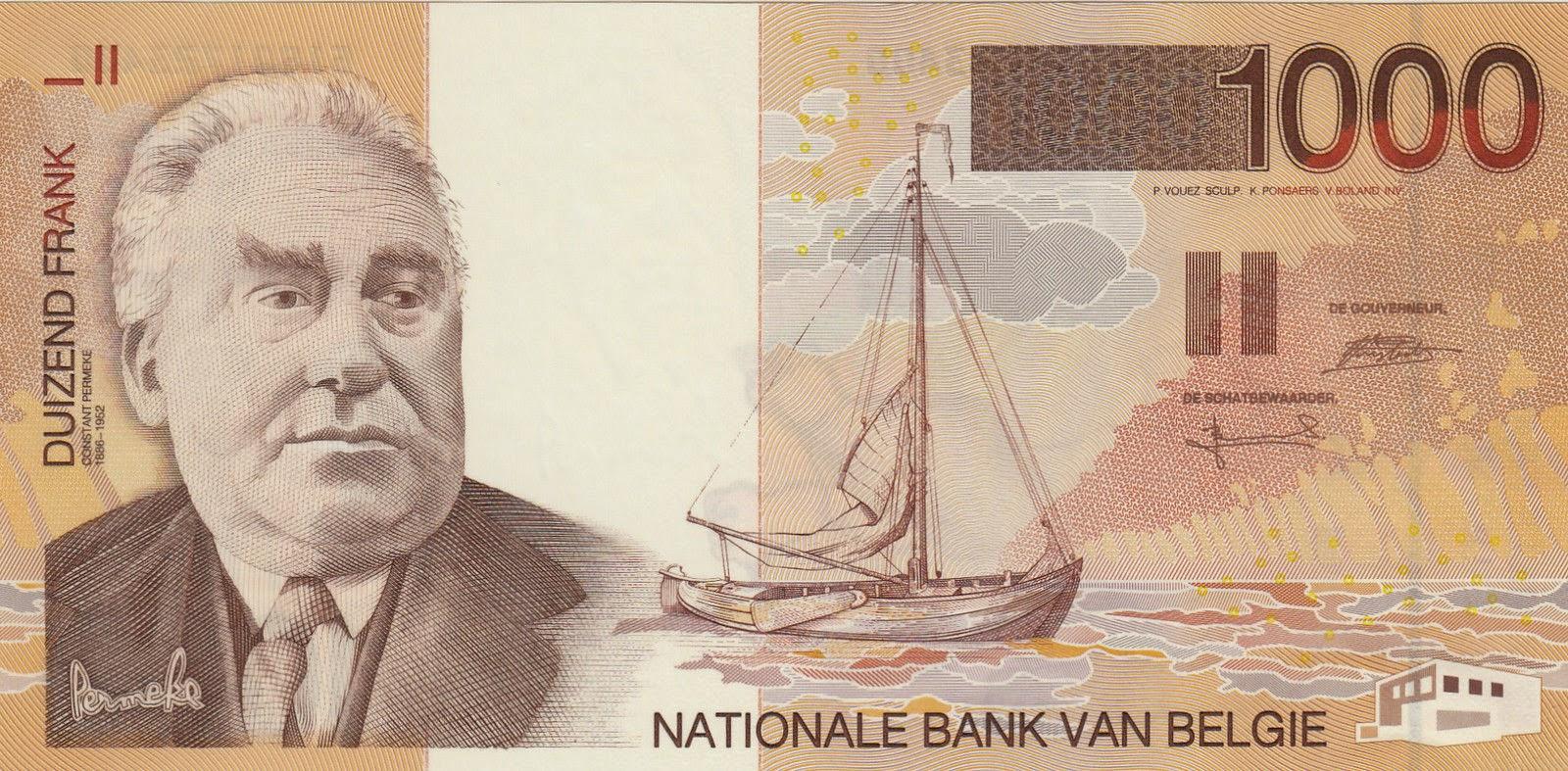 Belgium Banknotes 1000 Belgian Francs banknote 1998 painter and sculptor Constant Permeke