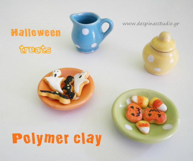 Polymer clay Halloween cookies (bat,ghost,pumpkin,candy corn)