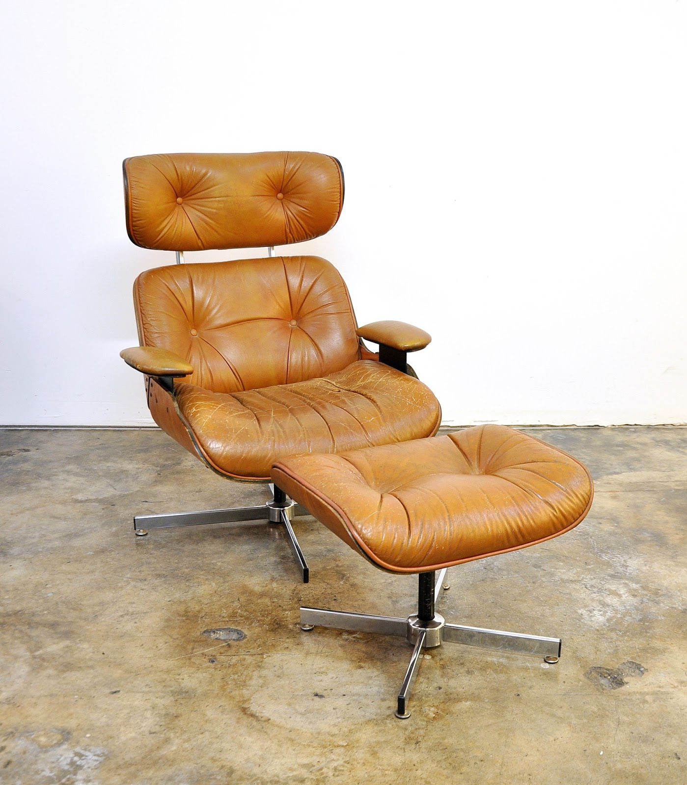 select modern frank doerner for selig eames style butterscotch lounge chair ottoman. Black Bedroom Furniture Sets. Home Design Ideas