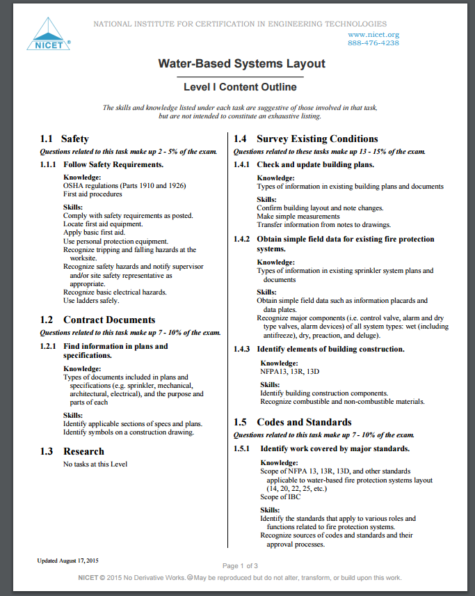 Nicet Water Based Systems Layout I Ii Nicet Study Guide Level 1