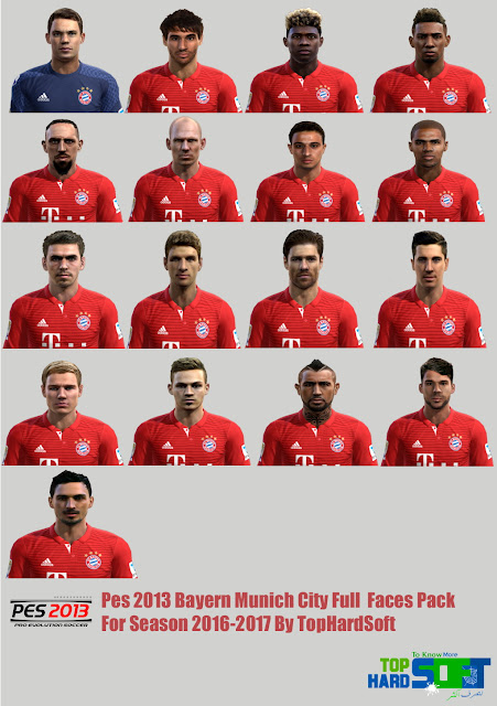 Pes 2013 Bayern Munich City Full Faces Pack For Season 2016-2017 By TopHardSoft