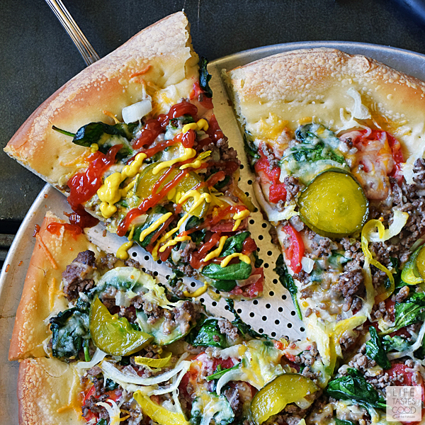 Cheeseburger Pizza Recipe | by Life Tastes Good takes everything I love about a big, juicy cheeseburger and plops it on top of a thick, delicious pizza crust for a tasty game day treat or a quick and easy dinner the whole family will love! #LTGrecipes #SundaySupper