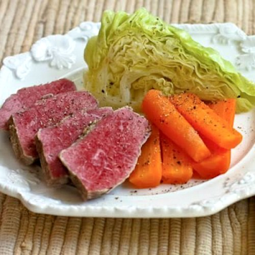 Slow Cooker Corned Beef with Veggies and Horseradish Sauce found on KalynsKitchen.com.