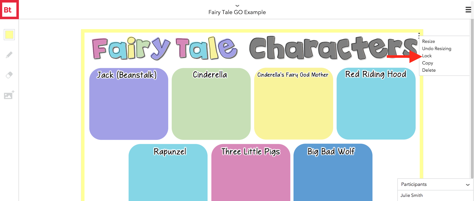 Use the web tool, BoardThing, to talk about characterization with fairy tale characters.