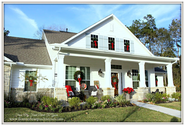 Farmhouse Christmas Porch-Wreaths-Windows-Suburban Farmhouse-From My Front Porch To Yours